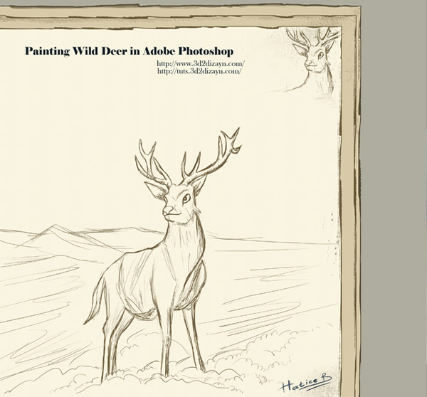 600x558 Wild Deer And The Snow Covered Mountain Painting 3d2dizayn Tutorials