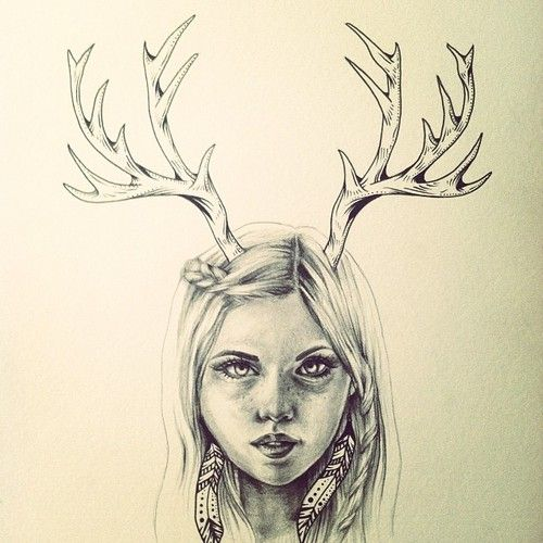 500x500 Drawn Antler Reindeer Female