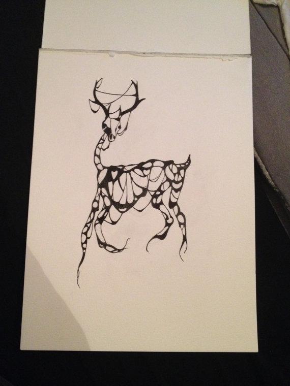 570x760 Deer Skeleton Drawing