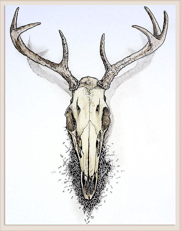 600x763 Deer Skull Painting