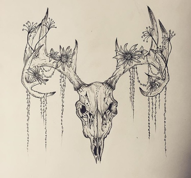 640x598 Deer Skull Tattoo Tattoos Deer Skull Tattoos, Deer