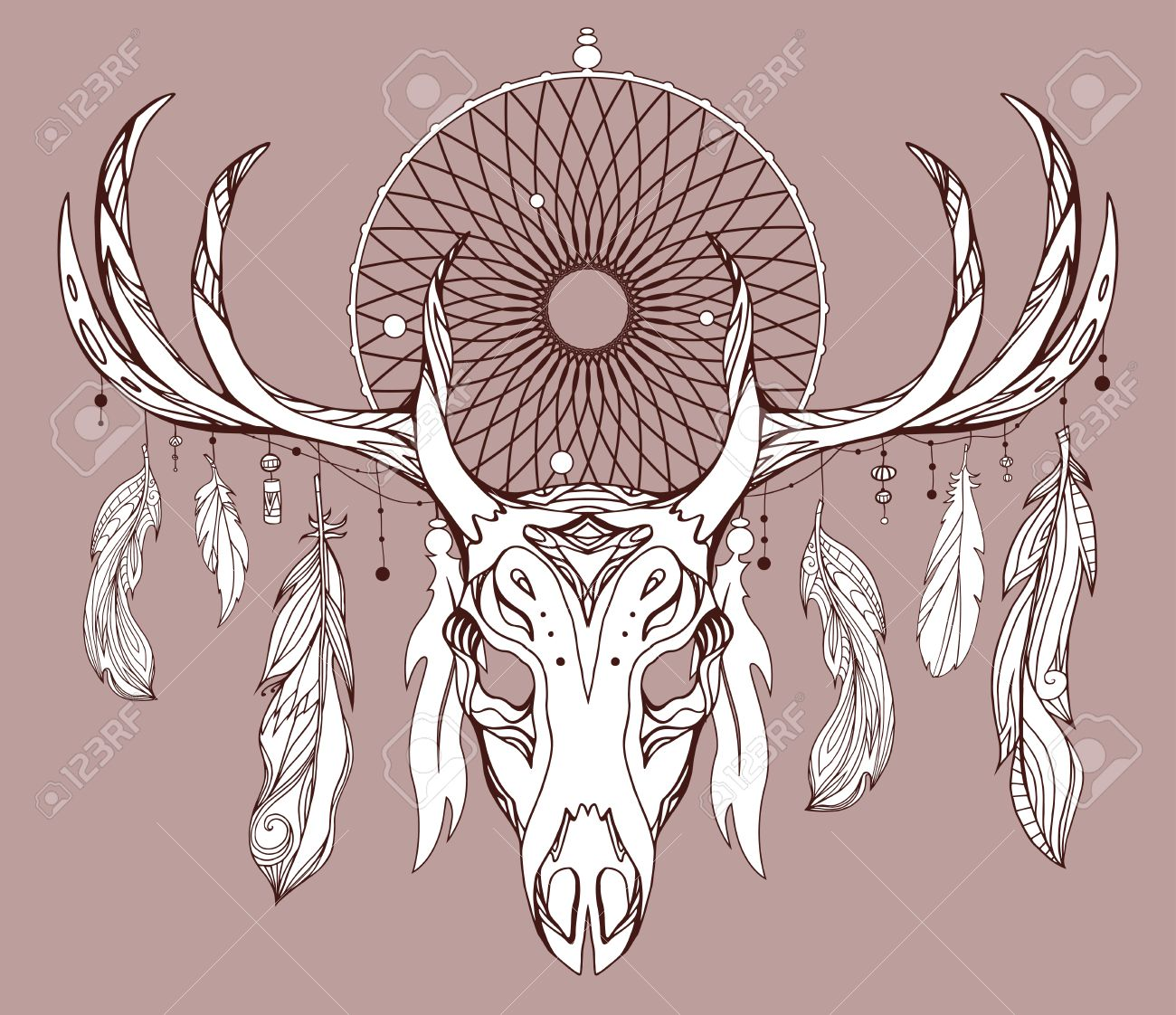 1300x1122 Illustration Of A Deer Skull With Antlers, Dreamcatcher