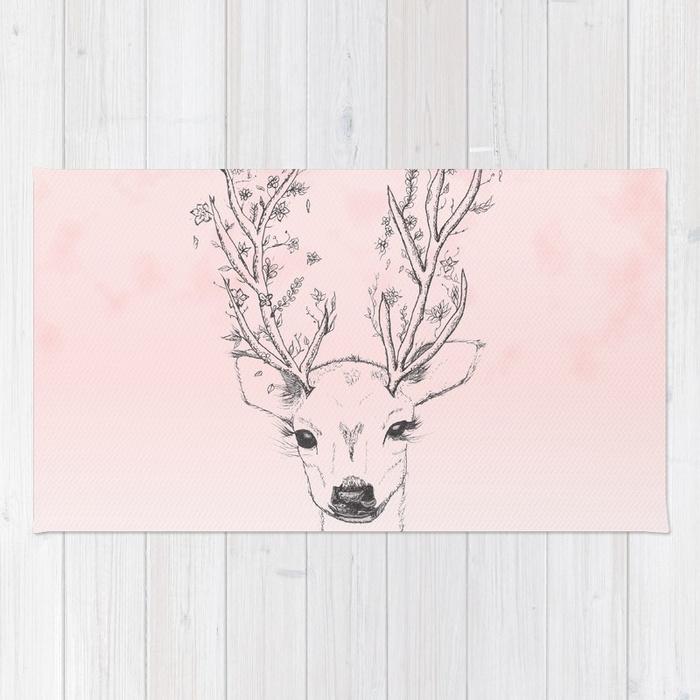 700x700 Cute Handdrawn Floral Deer Antlers Pink Watercolor Rug By
