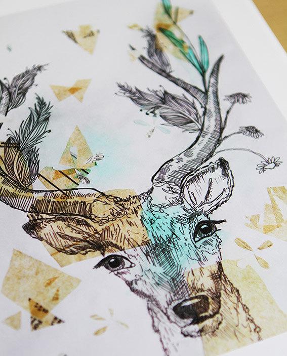 567x703 Deer Art Print Antlers Original Watercolor Painting By Sail