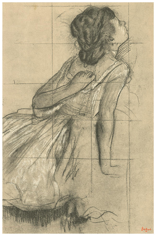 597x900 Study Of A Dancer Scratching Her Back Drawing By Edgar Degas
