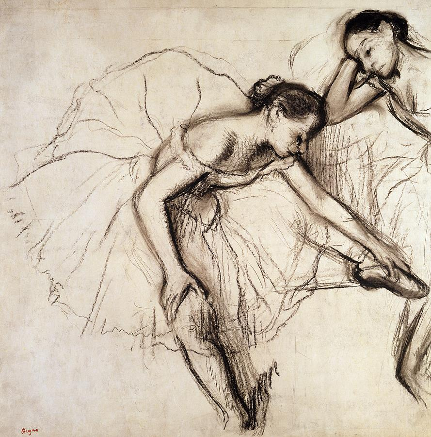 889x900 Two Dancers Resting Drawing By Edgar Degas