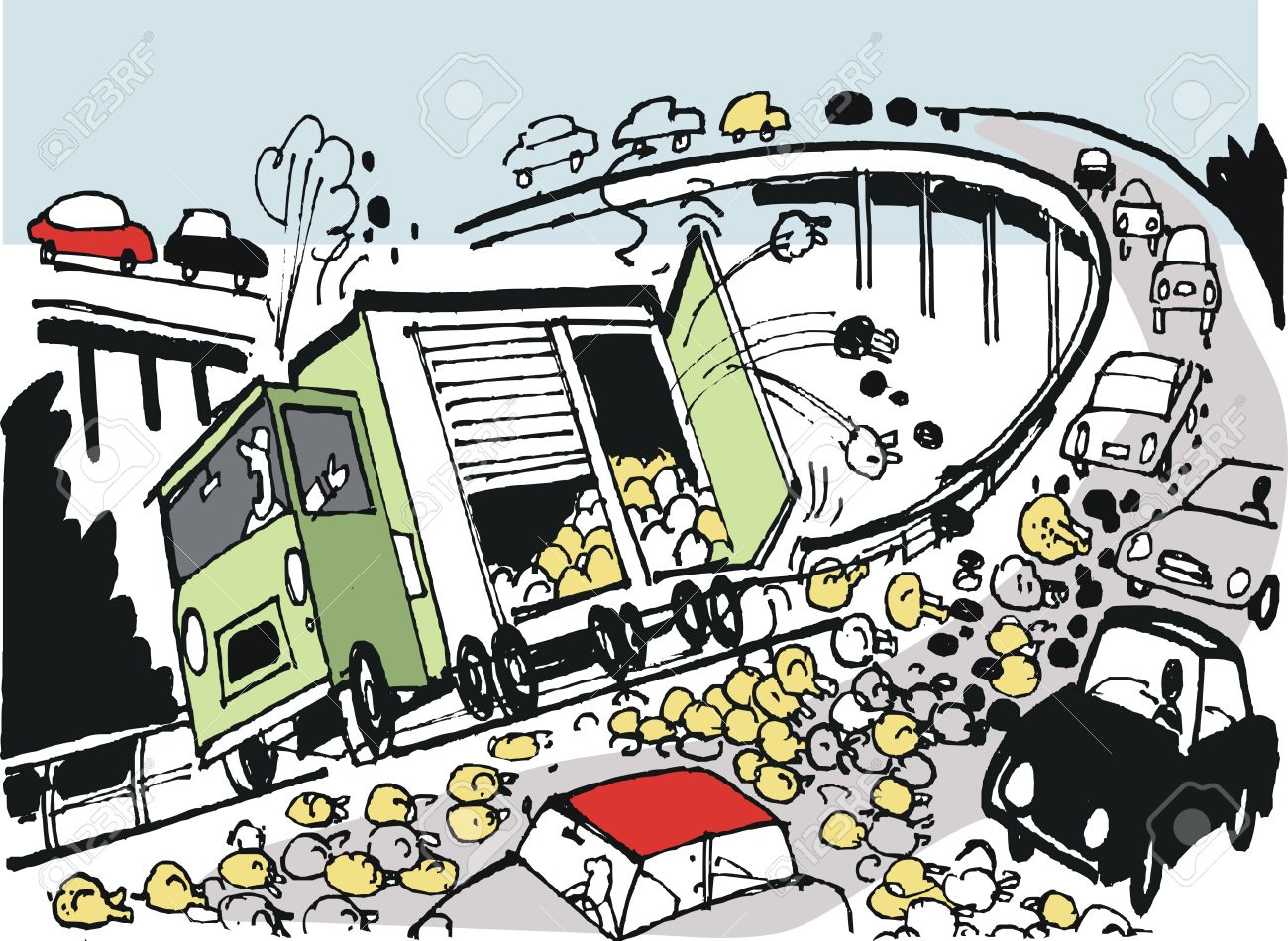 1300x950 Drawing Of Delivery Truck Spill Of Frozen Chickens On Freeway
