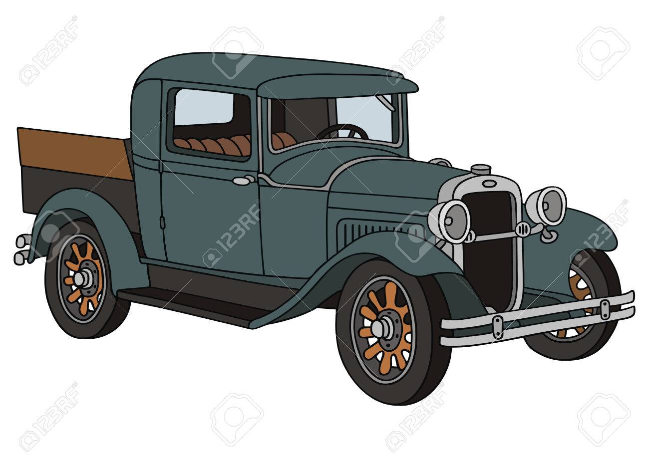 1300x918 Hand Drawing Of Vintage Delivery Truck Royalty Free Cliparts