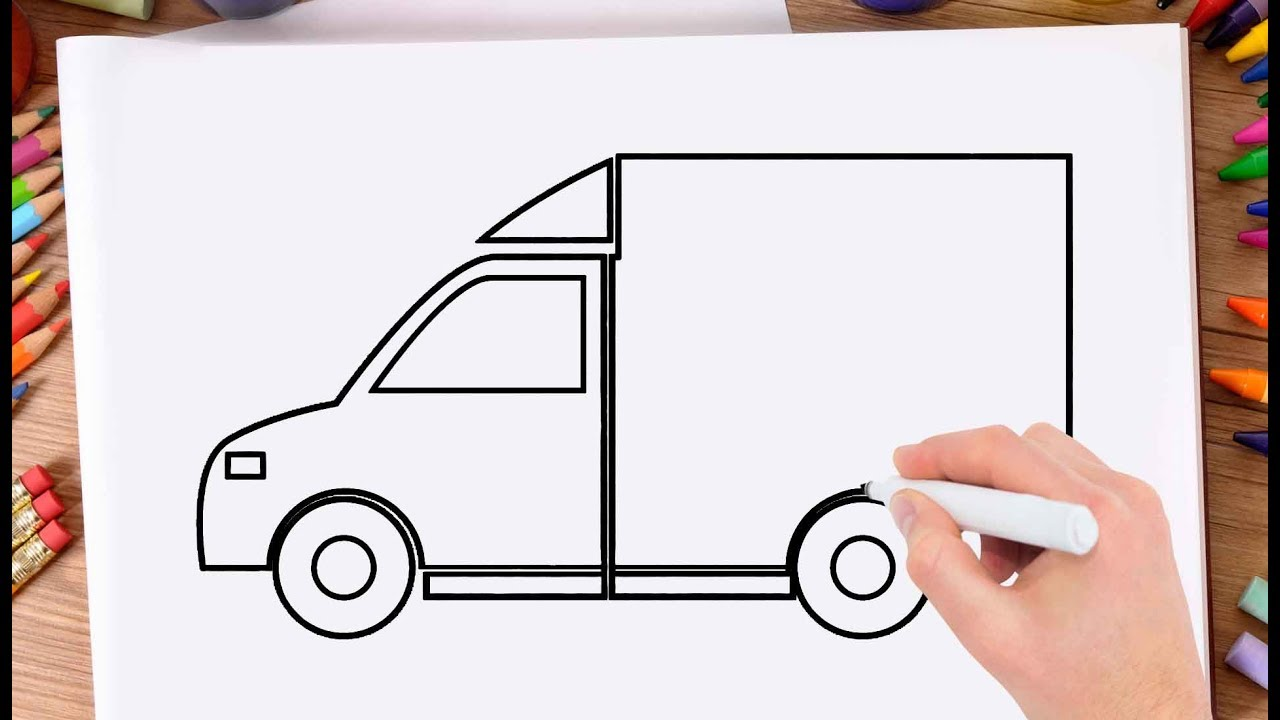1280x720 How To Draw Delivery Truck Learn Drawing A Delivery Truck Very
