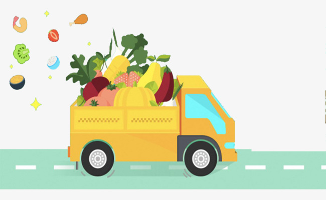 650x400 Life Delivery Truck, Cartoon Hand Drawing, Decorate, Vegetables
