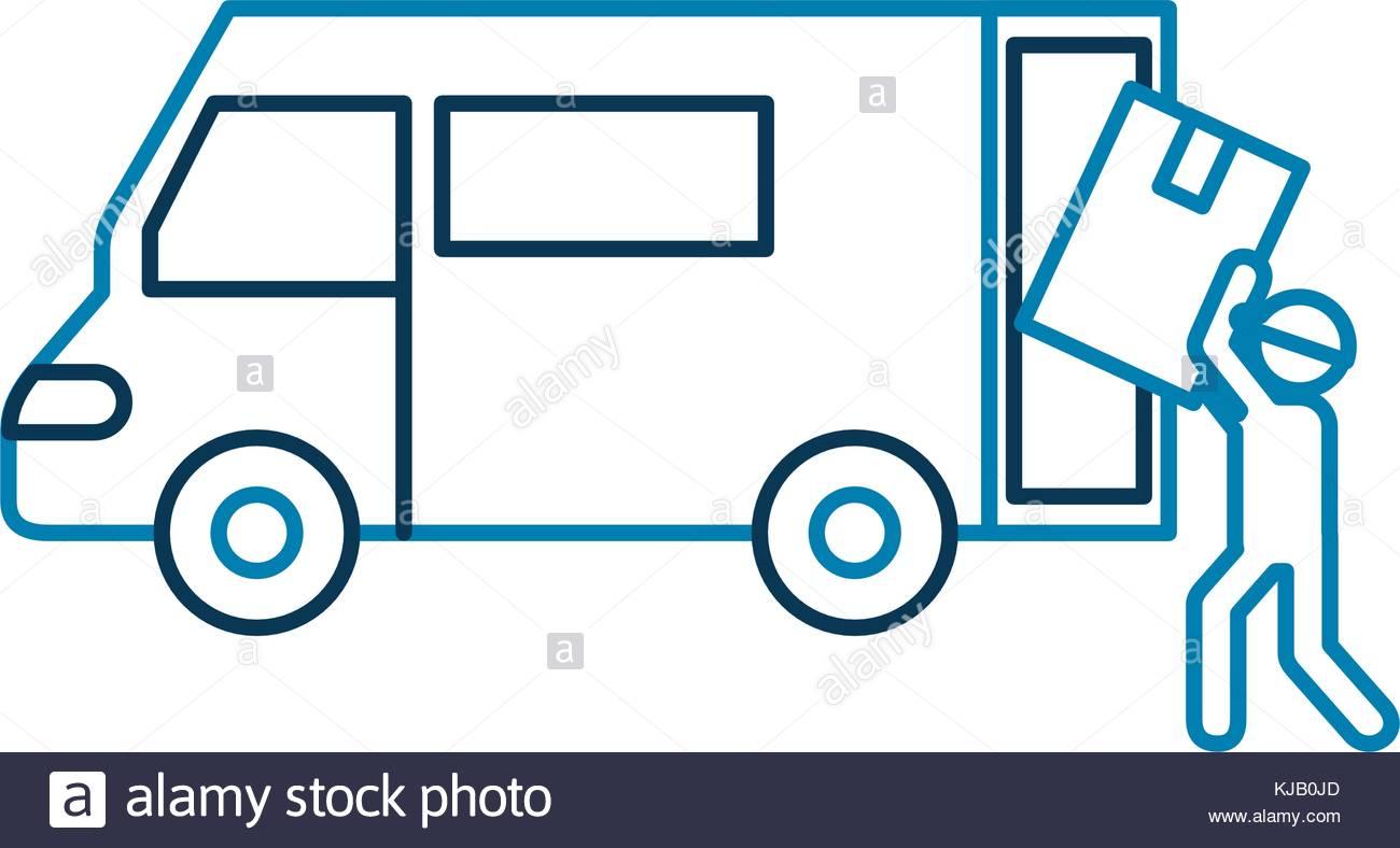 1300x788 Logistic Delivery Worker Box Loader Truck Van Stock Vector Art