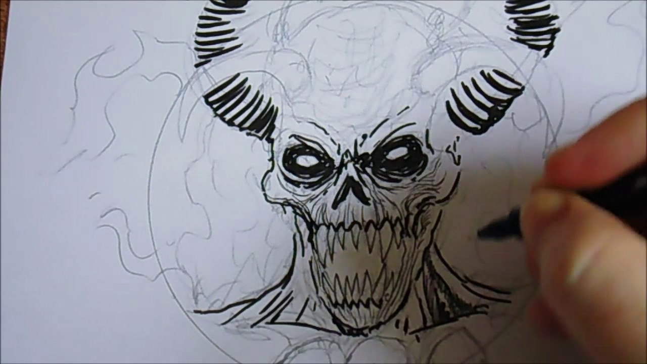 1280x720 Drawing A Demon Devil With Just Ink Pens