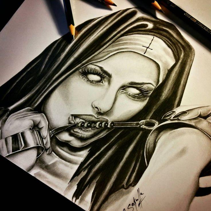 736x736 Demonic Devious Nun Tattoo Drawing Cassandra Sekulla By