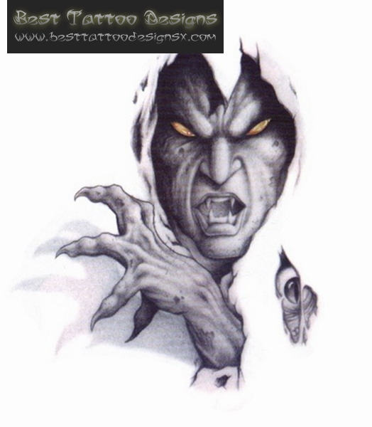524x600 White Amp Grey Ink Scary Demon Tattoo Design