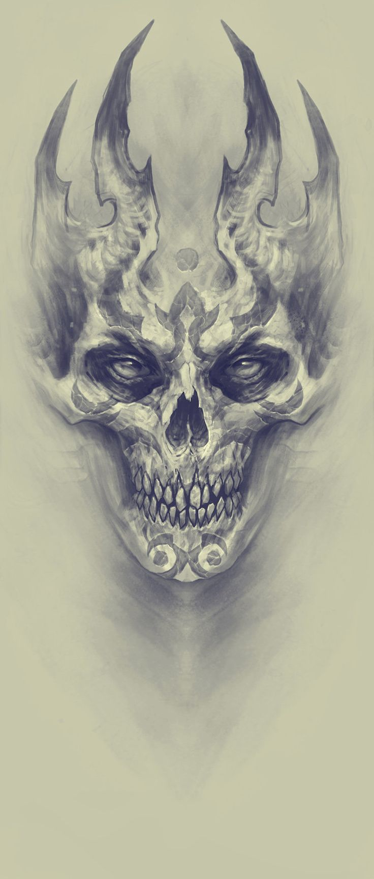 736x1727 Drawing Of Demon Face Drawn Demon Face