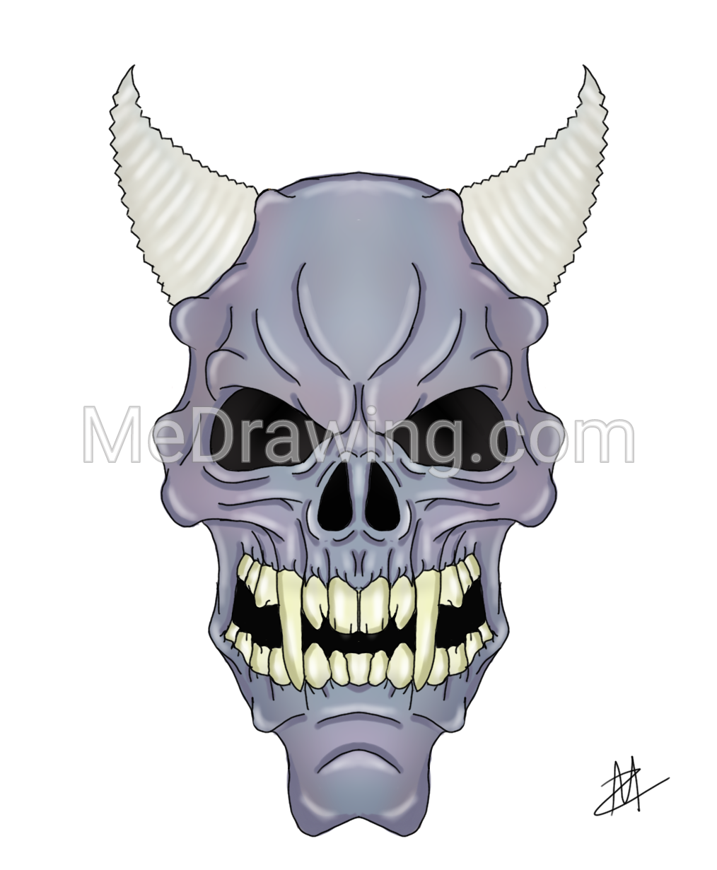 1014x1231 Purple Zombie Demon Skull Colored Drawing Colored Drawings
