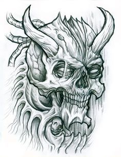 demonic skull drawing at getdrawings com free for personal use
