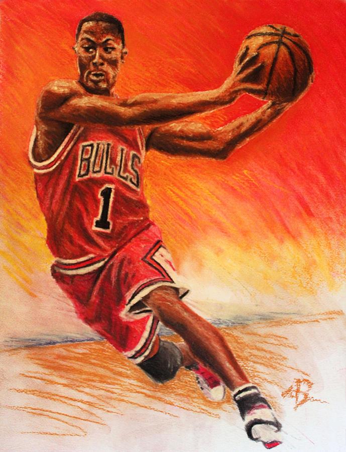 689x900 Derrick Rose Drawing By Adam Barone