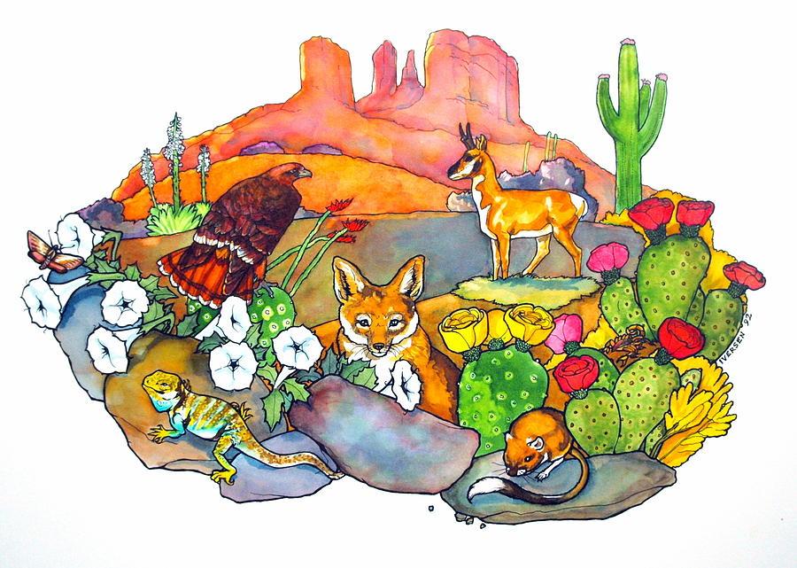 900x641 Desert Animals Drawing By Jill Iversen