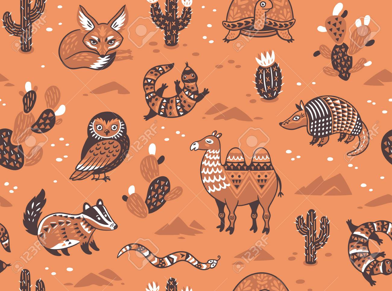 1300x964 Pattern With Desert Animals Royalty Free Cliparts, Vectors,