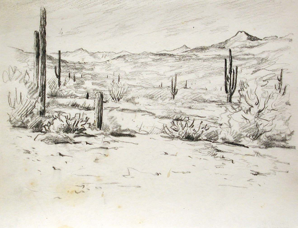 1024x783 Desert Landscape Drawing