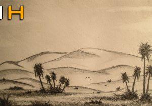 300x210 Desert Landscape Drawings Draw Landscape Sketches Desert Landscape