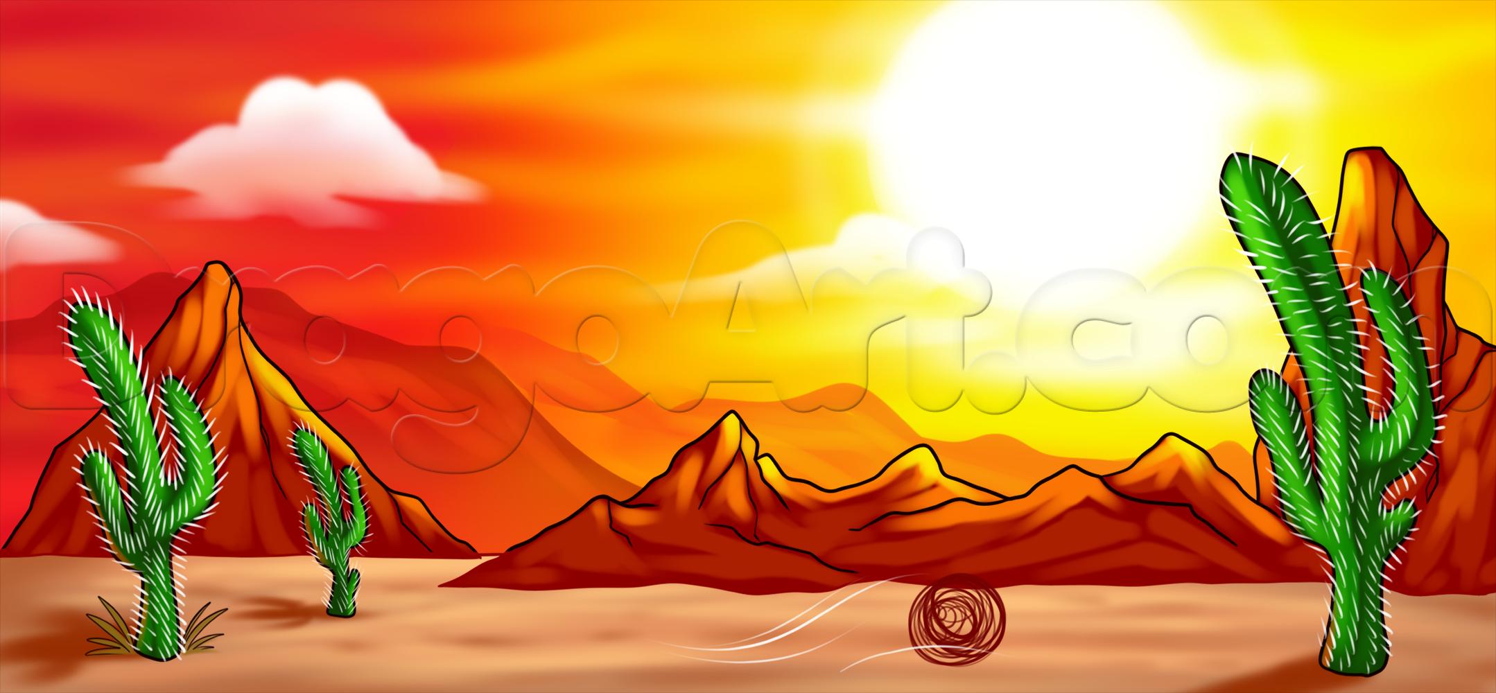2158x1000 Desert Landscape Drawings Learn Mexican Desert Drawing, Landscapes