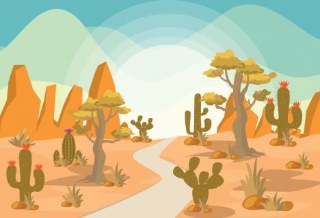 468x318 Desert Landscape Drawing Colored Cartoon Design Cactus Icons