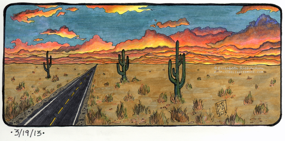 1000x494 Drawing Horizon Study Of A Desert Road Arts And Crafts Sources