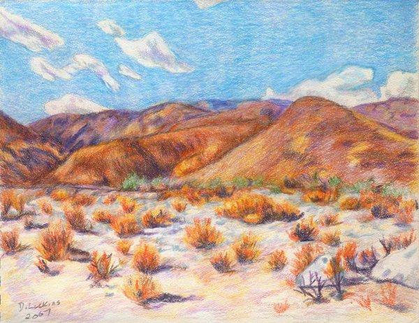 600x462 Early Desert Landscape Drawing By Desertdarlene