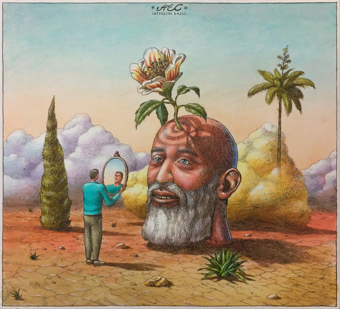 1137x1035 Holy And Selfish Man In The Desert' Drawing Aec Interesni Kazki