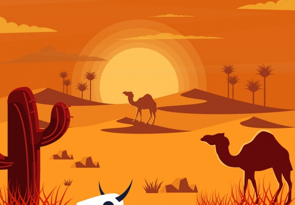 600x417 Hot Desert Drawing Colored Cartoon Design Free Vector In Adobe