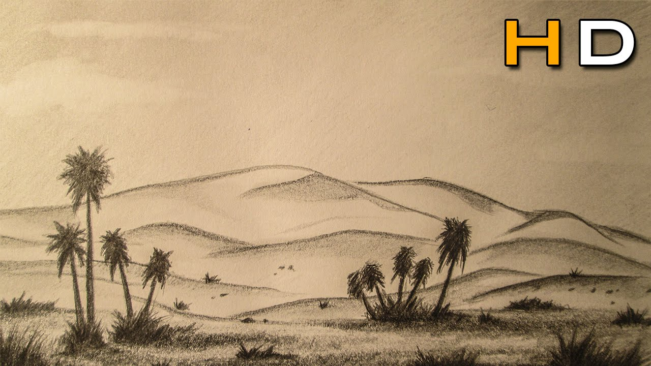 1280x720 How To Draw A Desert Landscape With Pencil Step By Step