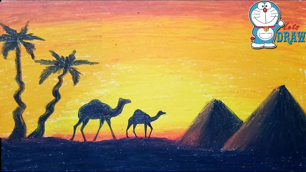 1280x720 How To Draw Scenery Of Sunset In Desert Step By Step ( Very Easy