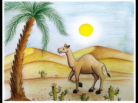 480x360 How To Draw Scenery Of Desert With Camel