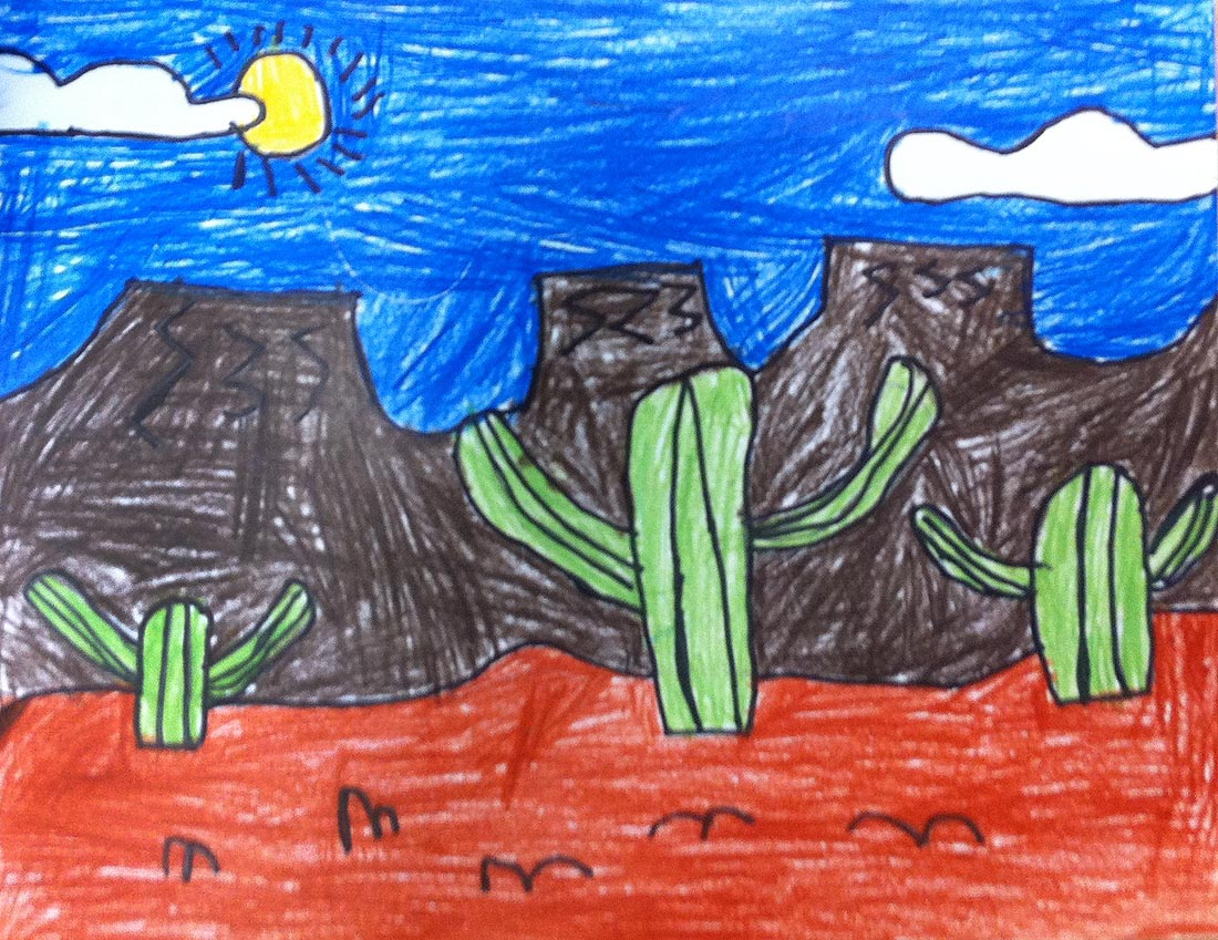 1100x849 Art Projects For Kids Desert Landscape Drawing Projects