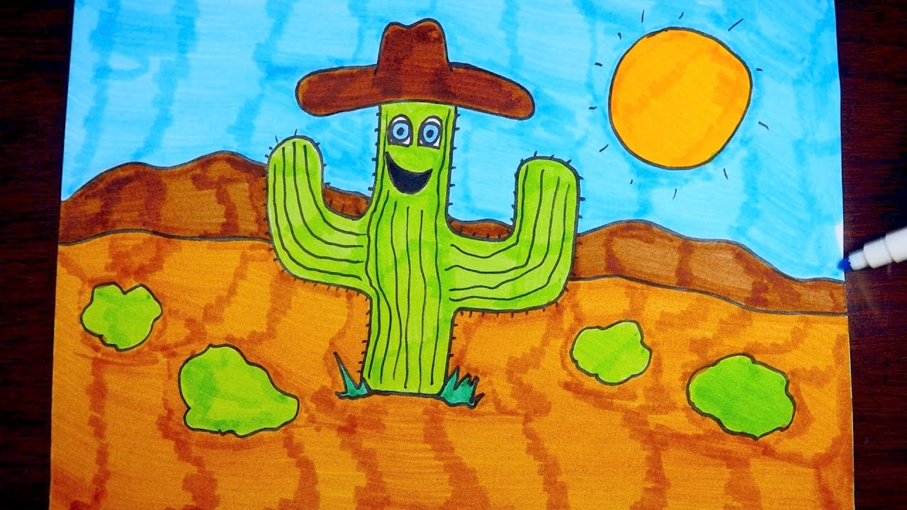 1280x720 How To Draw A Cartoon Desert Landscape, Step By Step ~ For Kids