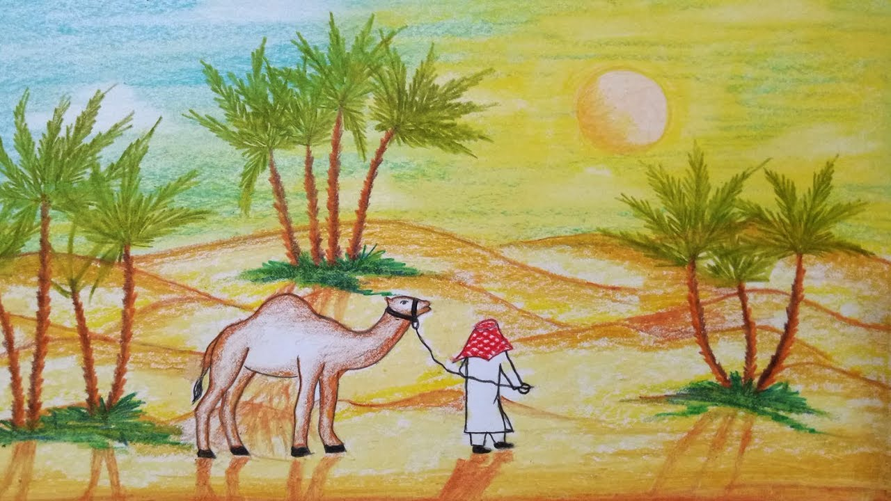 1280x720 How To Draw Scenery Of Desert With Camel.step By Step(Easy Draw