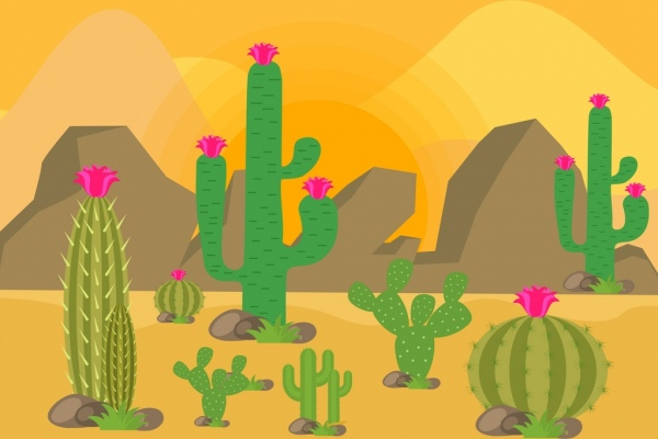 600x400 Desert Landscape Drawing Cactus Rock Icons Colored Cartoon Free