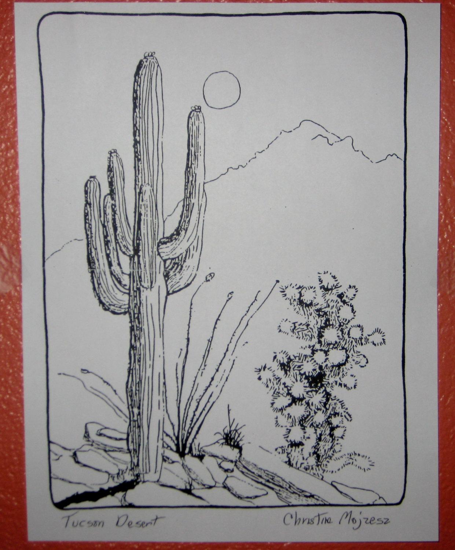 1241x1500 Tucson Desert Scene. Drawing Of Tucson Desert Done In Black