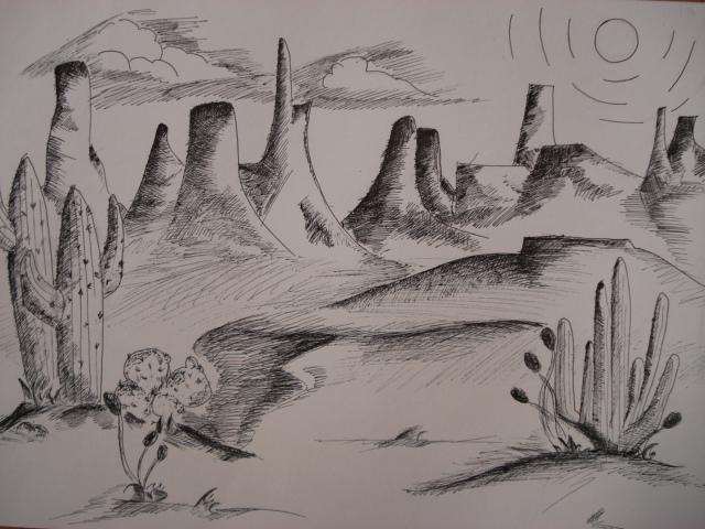 640x480 A Faithful Attempt Southwestern Pen Amp Ink Landscape Drawing