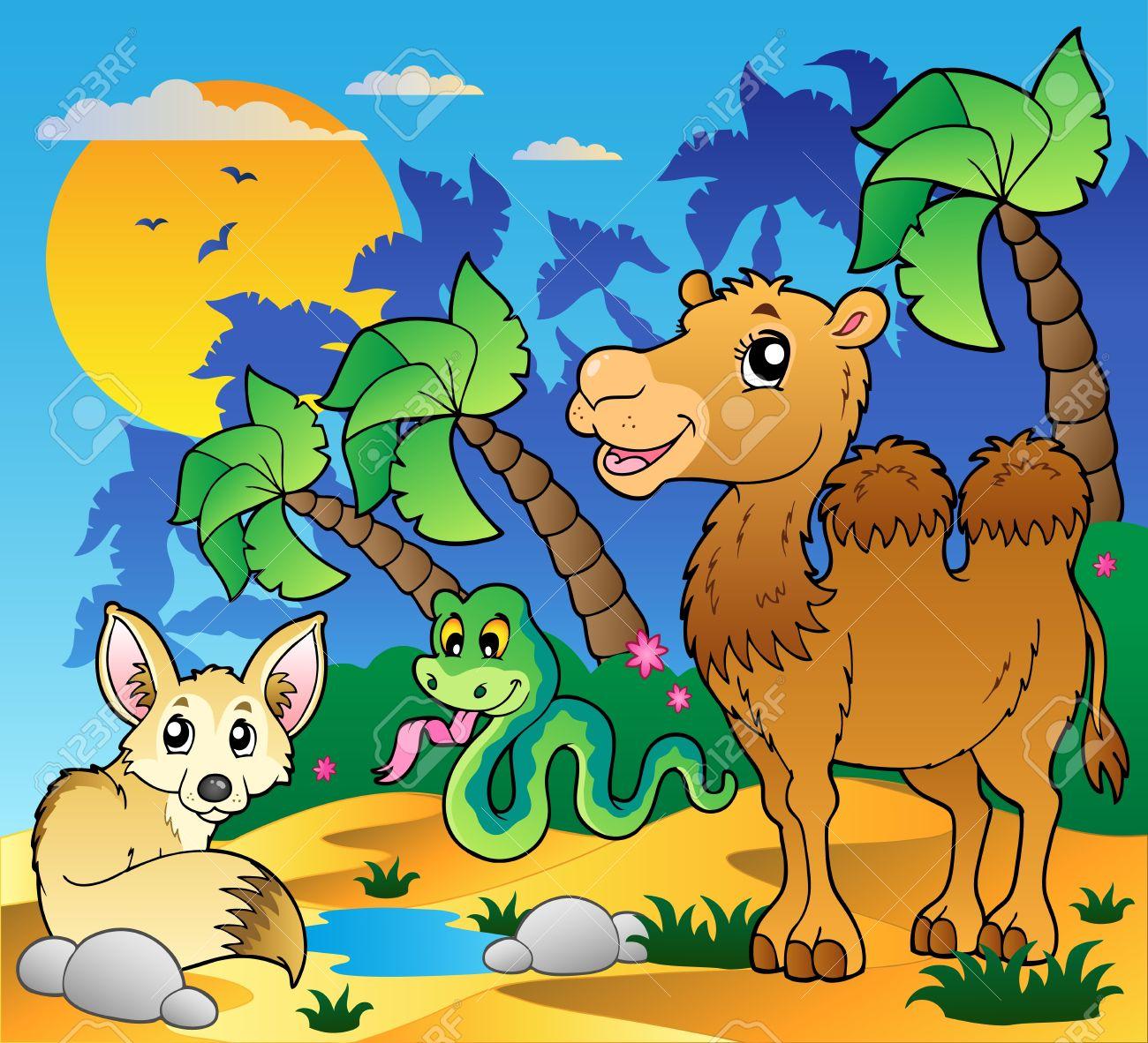 1300x1182 Desert Scene With Various Animals 1