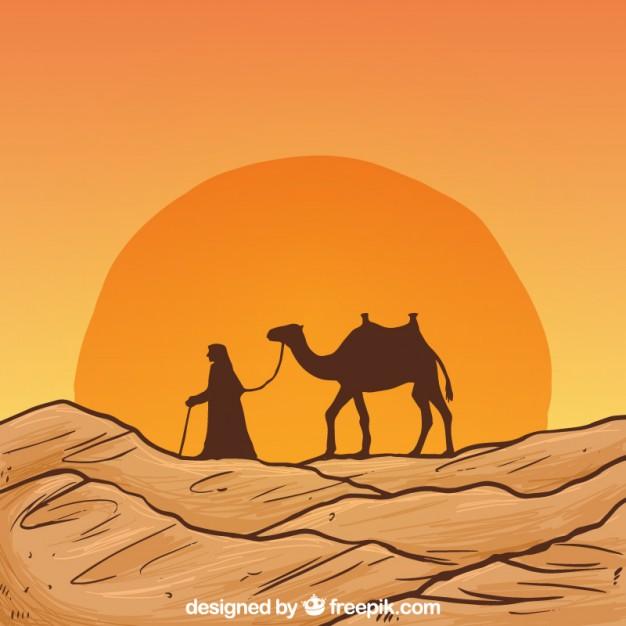 626x626 Hand Drawn Desert Landscape With Camel Silhouette Vector Premium