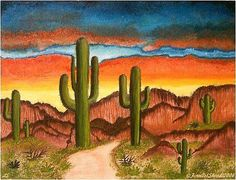 236x180 How To Draw Desert Cacti In 4 Steps Cacti, Deserts And Scene