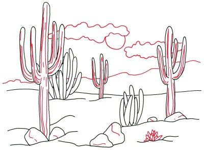 400x294 How To Draw Desert Cacti In 4 Steps