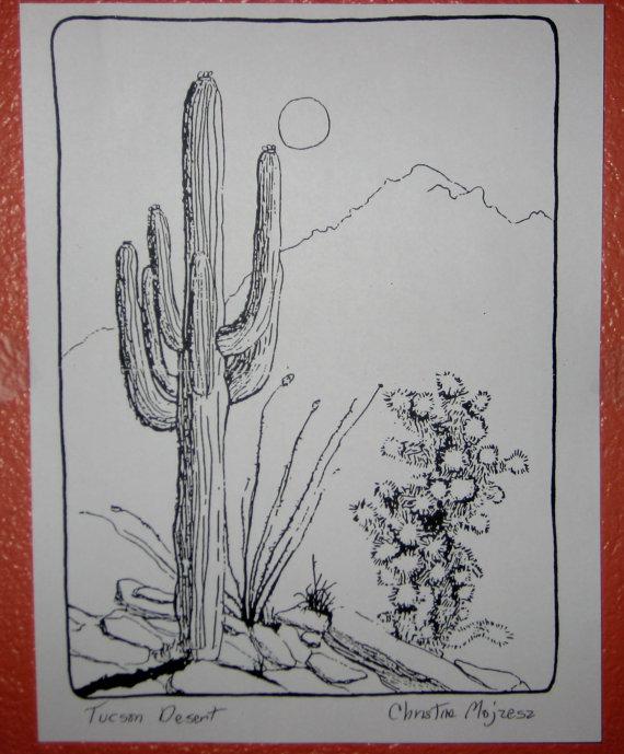 570x689 Tucson Desert Scene. Drawing Of Tucson Desert Done In Black