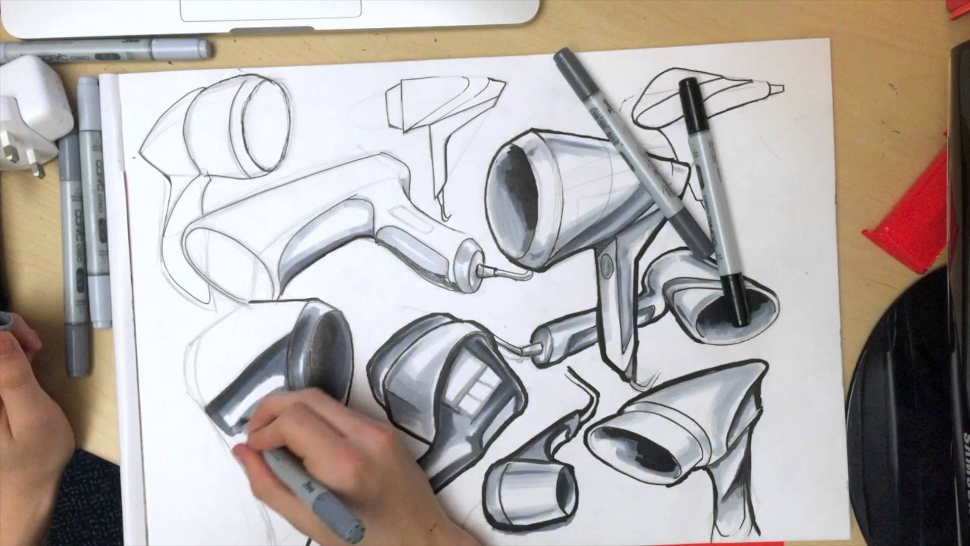 1920x1080 Product Design Drawing Time Lapse Of Hair Dryer Ideation