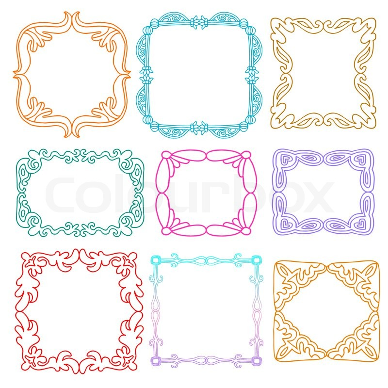 800x800 Cute Photo Frames Set, Kids Style Design Elements, Drawing Doodle