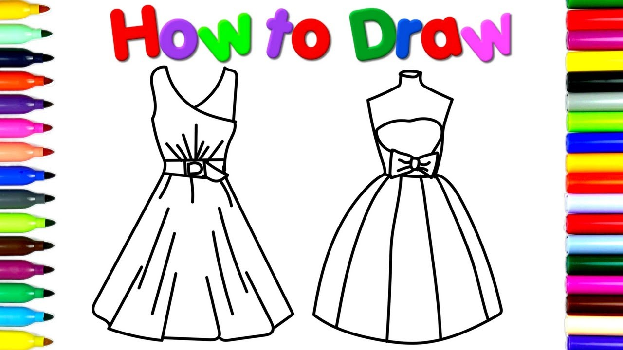 1280x720 How To Draw Party Dresses Drawing And Coloring For Children'S