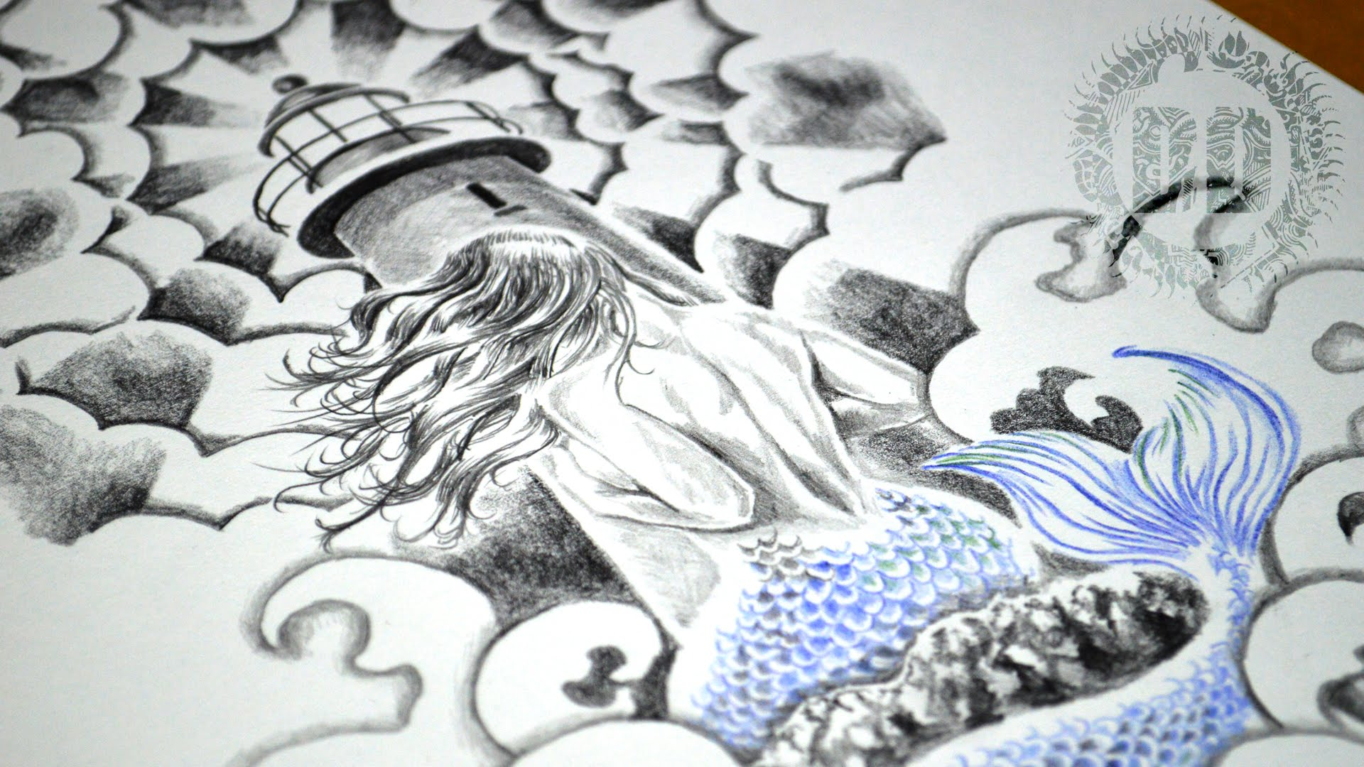 1920x1080 Mermaid Amp Lighthouse Tattoo Design